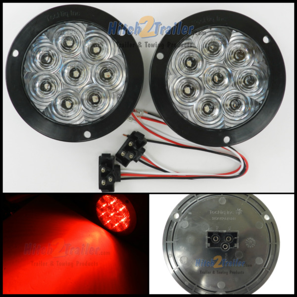 2 8 LED 4quot; Round Stop Turn Tail Light Clear RED TecNiq LED Flange Mount USA