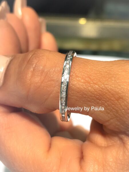14k Solid White Gold Diamond Eternity Band Stackable Ring Endless Wedding Band