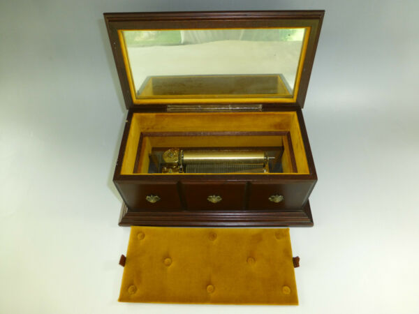 Vintage Circa 1960s Swiss Reuge Music Box 72  3 Custom Wooden Case Jewelry Box