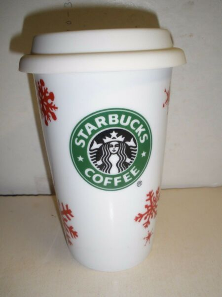 Holiday Starbucks Coffee mug tall white ceramic cup with red snowflakes and lid