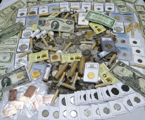 ANTIQUE COIN ESTATE LOT! GOLD & SILVER BULLIONCURRENCYHOARDCOINS 10 ITEMS!!!