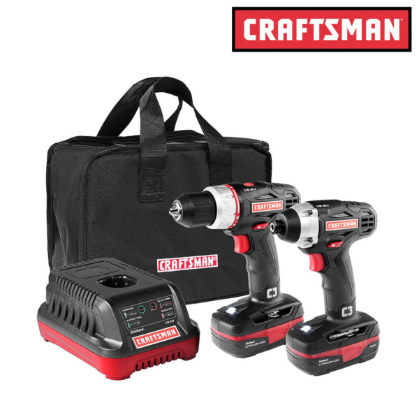 Craftsman Cordless Drill and Impact Driver C3 19.2V Combo Kit w/ Case - New