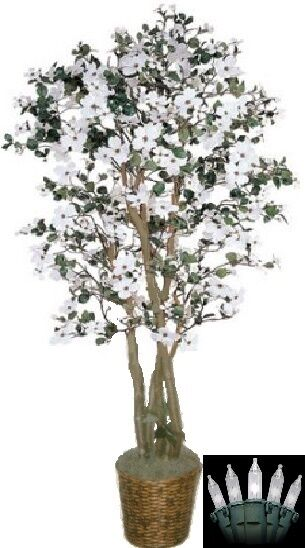 Artificial 6' Dogwood Tree Plant Topiary Palm Lights Arrangement Christmas Den