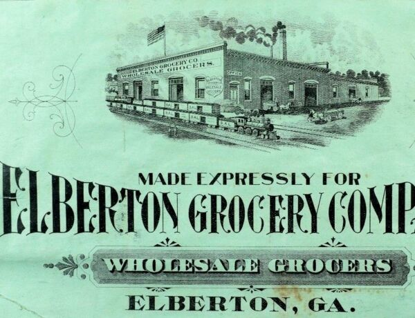 1880's-90's Elberton Grocery Company Wholesale Crate Label Engraved GA Train  *T
