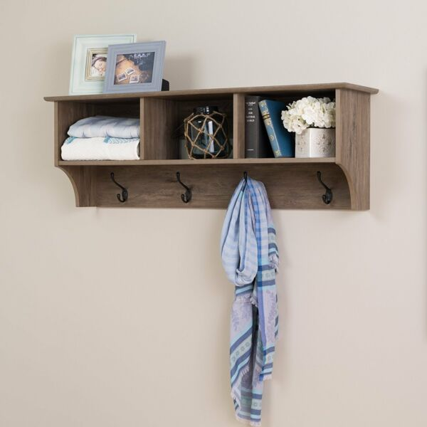 Prepac 48 inches Wide Hanging Entryway Shelf in Drifted Gray, DEC-4816 New