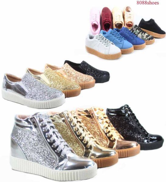 Women's Fashion Stylish Glitter Lace Up Platform Sneakers Shoes Size 5 - 10 NEW