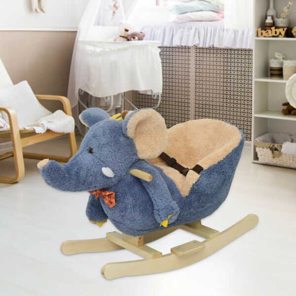Baby Kids Toy Wooden Plush Rocking Horse Little Elephant Style Riding Rocker
