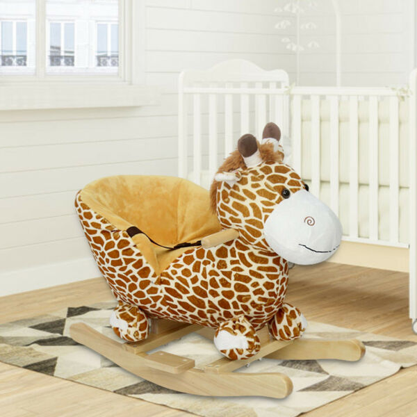 New Baby Kids Toy Plush Rocking Horse Little Giraffe Theme Style Riding Rocker