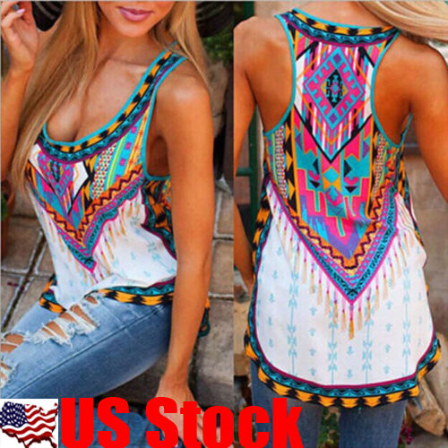Summer Womens Sexy Vest Top Sleeveless Shirt Blouse Casual Tank Tops T-Shirt USA
