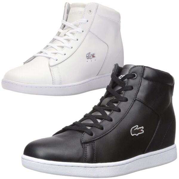NEW Lacoste Women Athletic Carnaby Evo Wedge 317 Spw High Top Fashion Sneakers