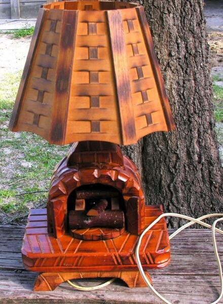 1940's VTG FOLK ART  HAND MADE WOOD FIREPLACE LAMP ST JEAN PORT JOLI QUEBEC