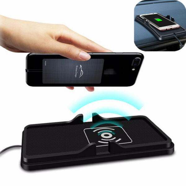 Qi Wireless Fast Phone Charger Non-Slip Car Dashboard Holder Mount for Samsung