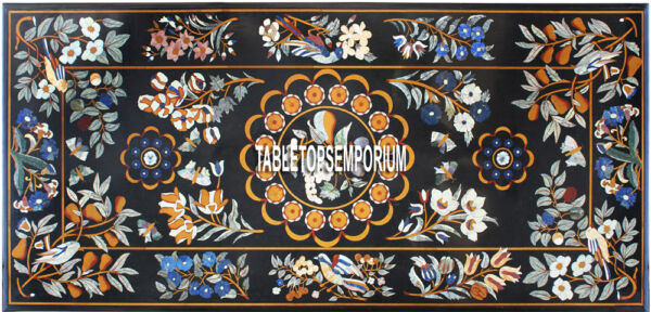 8'x5' Floral Marble Table Top Scagliola Dining Room Home Marquetry Inlay Decor