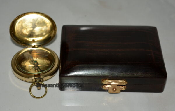 LOT OF 20 PIECES BRASS PUSH BUTTON POCKET COMPASS GOOD WITH BLACK WOODDEN BOX