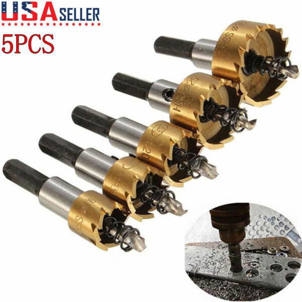 5PCS Multi-Purpose Power Bit Set HSS Titanium Coated Hole Saw Tooth Cutter Drill
