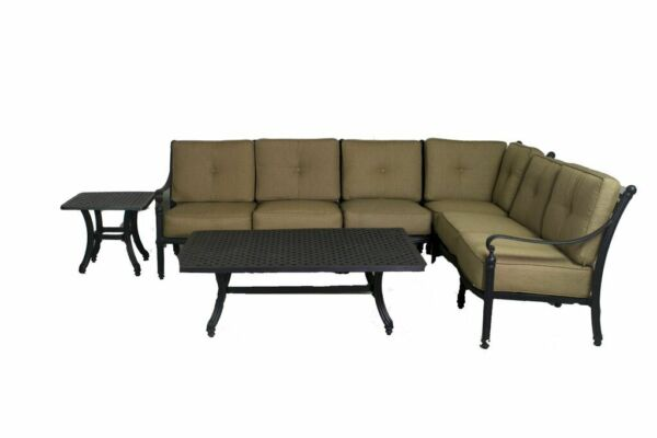 BASSO COLLECTION 4 PIECE LOVESEAT SECTIONAL SET W END TABLE & COFFEE TABLE