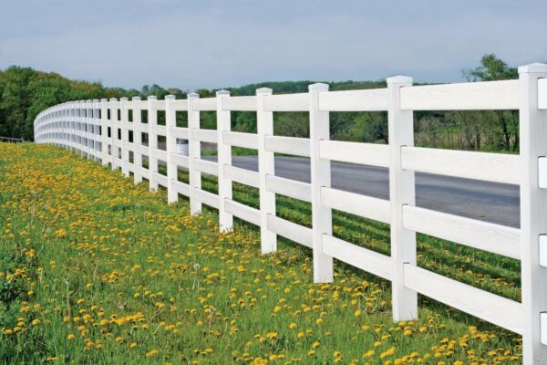NEW Vinyl Fence-  6900' of 4-rail Horse Fence