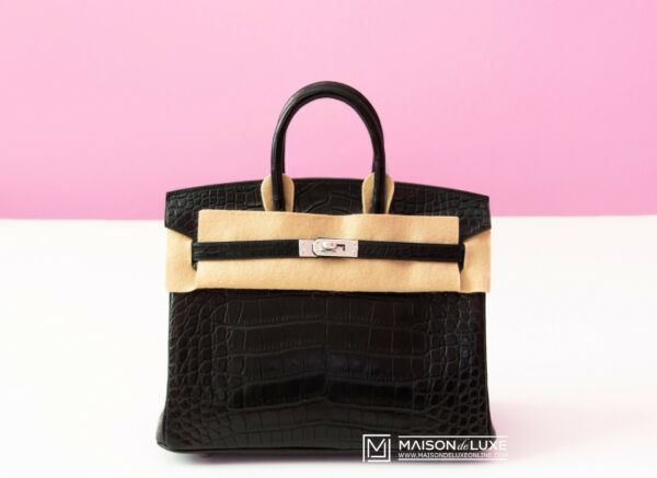 NEW HERMES BLACK NOIR MATTE CROCODILE PALLADIUM 25 BIRKIN BAG KELLY HANDBAG TOTE