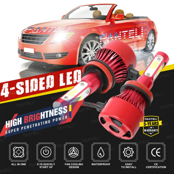 H11 4-Sided LED Headlight 6000K White 1490W 223500LM  Low Beam Bulb High Power