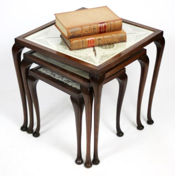 Vintage Mahogany Nest of 3 Tables with Emb'd Lace Insert - FREE Delivery [1406]