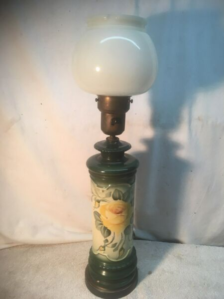 Vintage Mid Century Green Glazed Ceramic Painted Yellow Rose Lamp Milk glas 3way