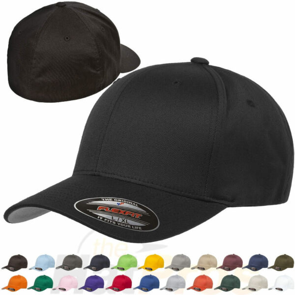 Original Flexfit Fitted Baseball Hat 6277 Wooly Combed Twill Cap Blank Flex Fit