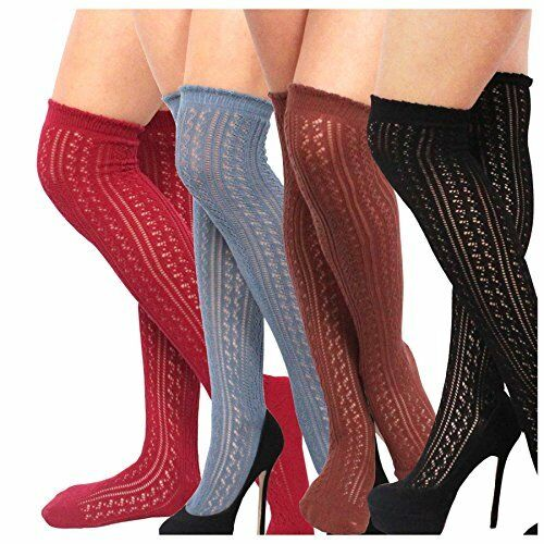 Teehee Women's Fashion Pointelle Cotton Over The Knee Socks - 4 Pairs Pack