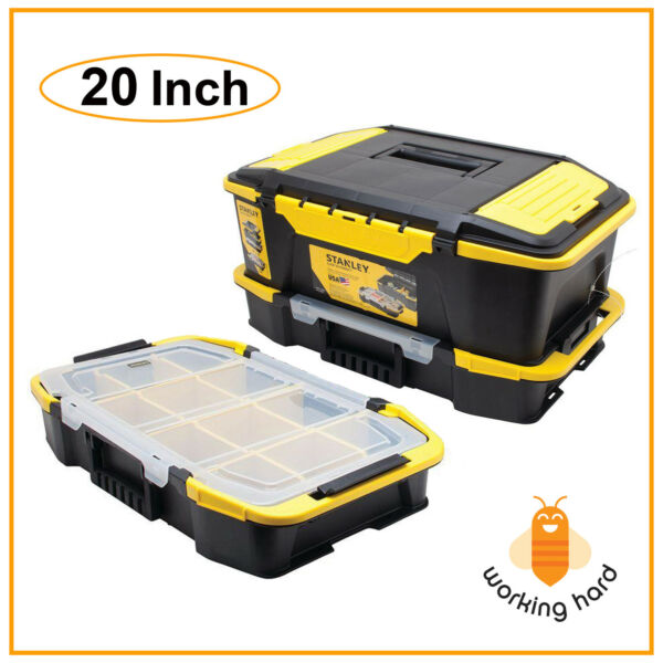 STANLEY TOOL BOX ORGANIZER 20'' Portable Stackable Plastic Chest Tools Storage