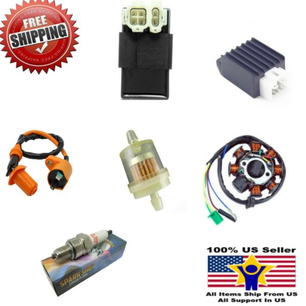 GY6 50 150cc Ignition Coil Plug DC Stator Solenoid Performance CDI Complete NEW $34.99
