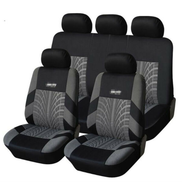 Embroidery Full Car Seat Covers Set Universal Seat Protector Tire Track Feature