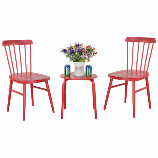3PCS Patio Table Chairs Furniture Set Bistro Garden Lawn Pool Side Steel Red $109.95