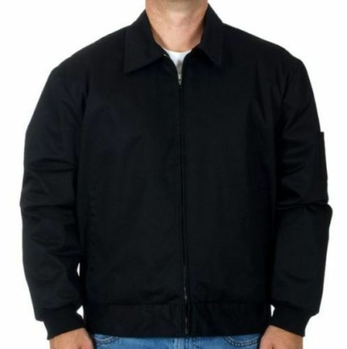 Mens Work Mechanic Jacket Style Zip Jacket Black Work Wear Brand New