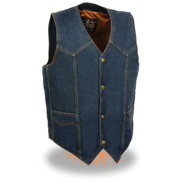 Milwaukee Leather Men's Classic Snap Front Denim Biker Vest-DM1310(BLUE)