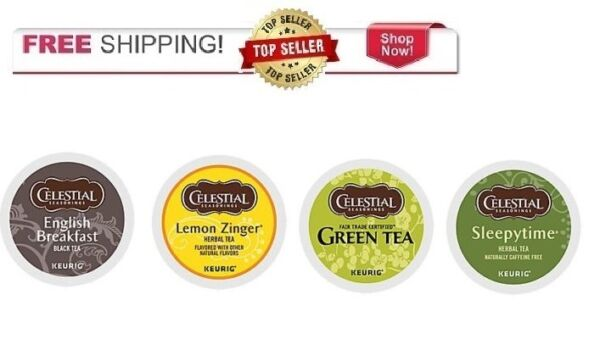 NEW CELESTIAL SEASONINGS Tea Variety Pack Keurig k-cups 88 count Free Ship