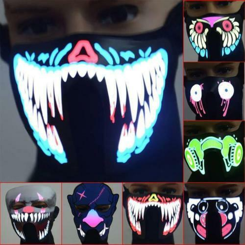 Outdoor Christmas LED Luminous Face Mouse Mask Windproof Winter Cycling Mask USA