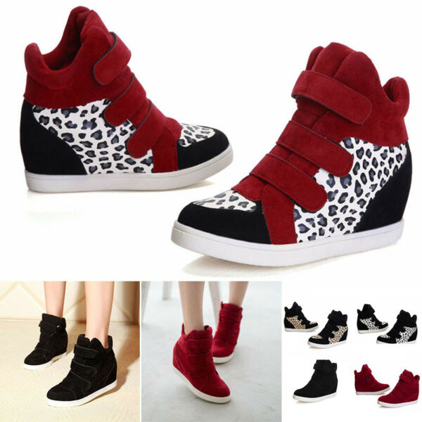 WOMENS FASHION  WEDGE HEEL SHOES INCREASED HIGH TOP CASUAL SNEAKERS SIZE