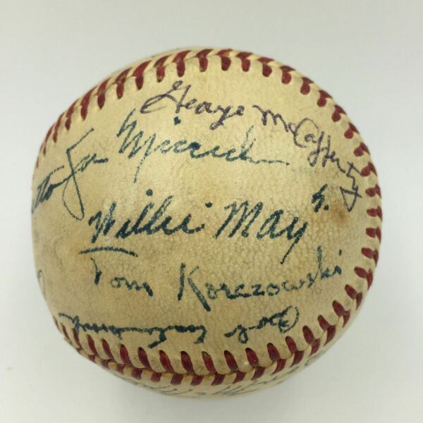 Willie Mays Pre Rookie 1950 Trenton Giants Minor League Team Signed Baseball PSA