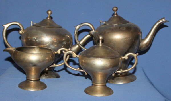 ANTIQUE SILVER PLATED SET 2 TEACOFFEE POTS SUGAR BOWL AND CREAMER