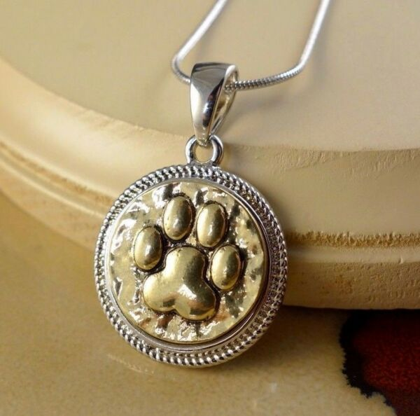 DOG PAW GOLD metal snap button pendant necklace gifts women girls jewelry $12.80