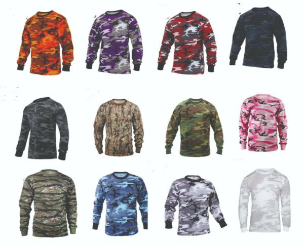 Long Sleeve T Shirt Camo Tactical Military Hunting Rothco Tee Camouflage NEW