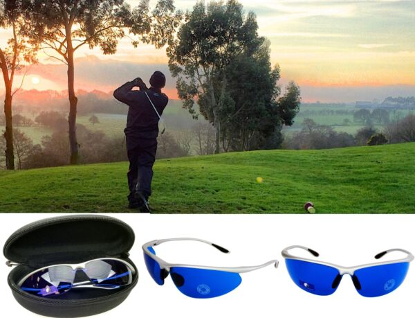 Golf Ball Finder Glasses Blue Lenses Sunglasses Silver Frame Zipper Case Gift