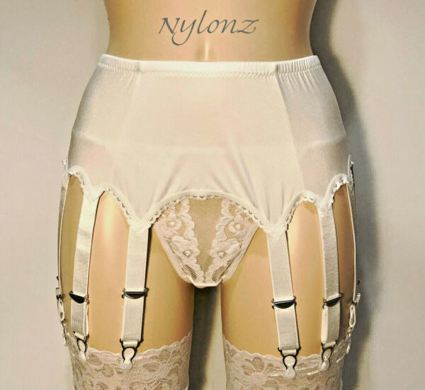 14 Strap Luxury Suspender Belt WHITE Garter Belt NYLONZ UK