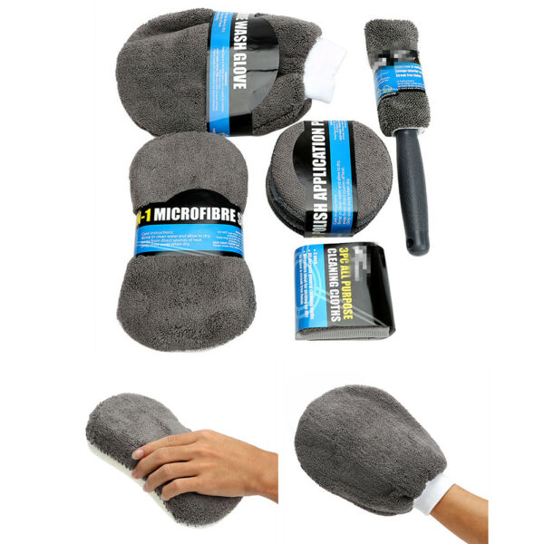9X Car Cleaning Kit Wash Sponge Cloth Glove Mitts Tire Brush Auto body Care NEW