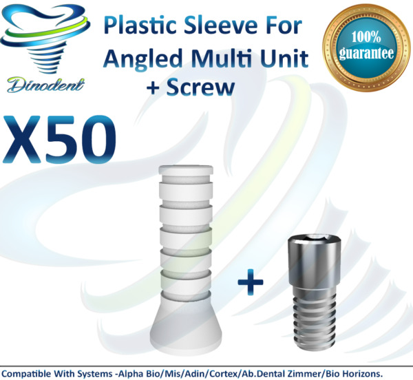 X50 Plastic Sleeve + Screw For Angled Multi Unit For Dental Implant ORIGINAL