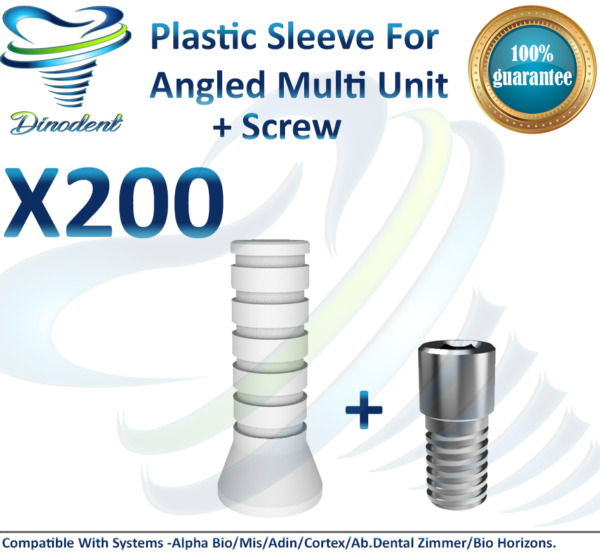 X200 Plastic Sleeve + Screw For Angled Multi Unit For Dental Implant ORIGINAL