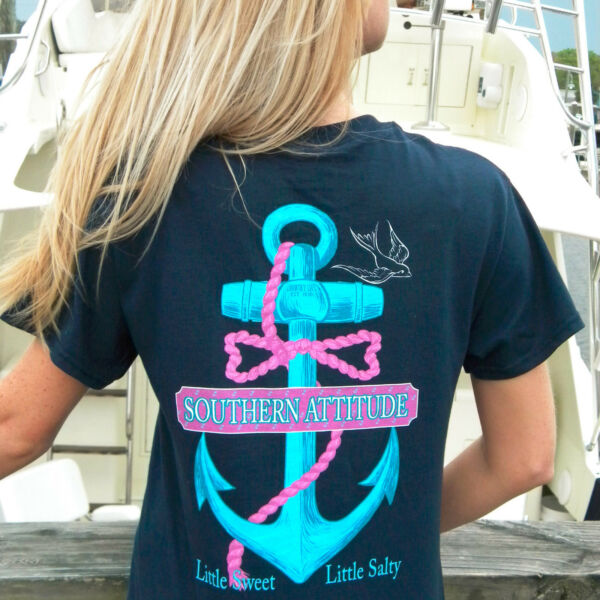 Southern Attitude Salty Anchor Bow Tie Navy Blue Womens T Shirt