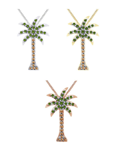 15 Ct Brown & Green Diamond Palm Tree Pendant Necklace In 14K Gold