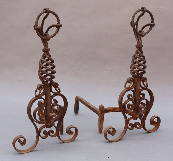 1920s Hand Wrought Iron Andirons Ornate Detail Antique Fireplace Vintage (8741)