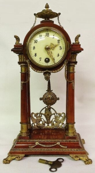 Rare 1870's Lenzkirch 8 Day Mantel Clock Made in the Black Forest of Germany