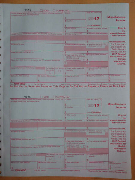 8) 1099-MISC Miscellaneous Income 2017 IRS Tax Forms & 2 1096 Transmittal Forms